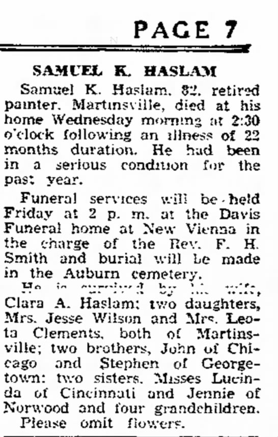 samuel k haslam obit tues sept 5 1939 the press gazette hillsboro ohio