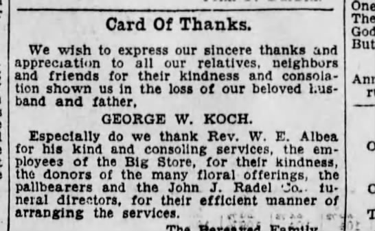 1931-02-22 Koch family offers thanks after death of Geo W