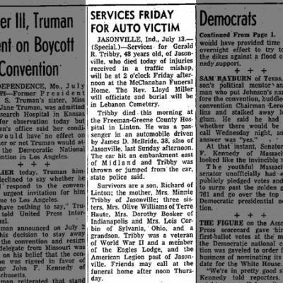 The Terre Haute Star 14 Jul 1960 - Gerald R Tribby death notice.