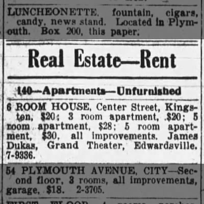 House for rent 1942