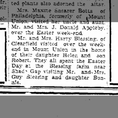 M/M H.B. Blessing visit Shade Gap-TDN p.15-21 April 1949