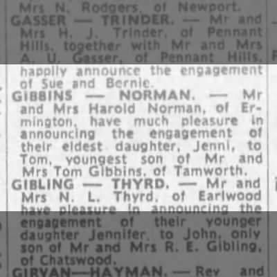 Gibbins-norman engagement 21 oct 1972