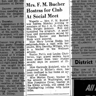 1939 (8) Wapello Muscatine News Tribune 11.29.1939