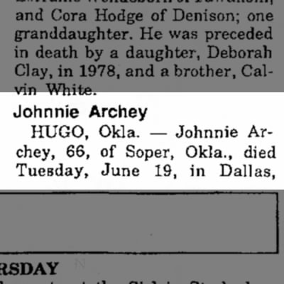 Johnnie Archey Obituary Part 1, The Paris News, 21 Jun 1990, Page 2