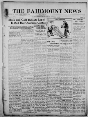 The Fairmount News from Fairmount, Indiana on November 3, 1921 · Page 1