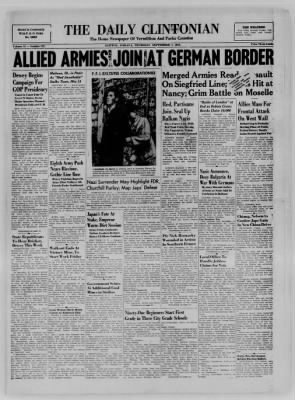The Daily Clintonian from Clinton, Indiana on September 7, 1944 · Page 1