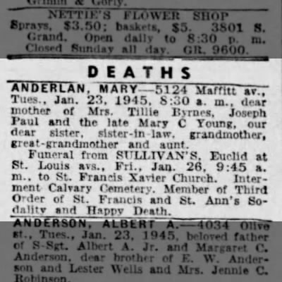 Anderlan, Mary- Obit St. Louis Post-Dispatch 25 Jan 1945 page 5B
