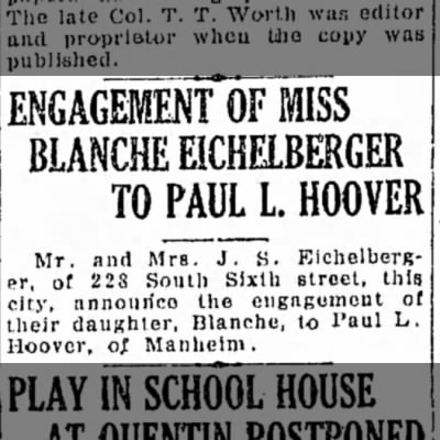 Eichelberger Blanche and Paul L Hoover engagement notice - 2nd day 23 Dec 1929