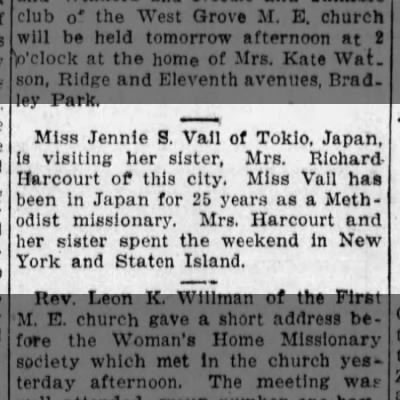 Jennie Vail visits sister Mrs. Richard Harcourt, 13 Oct 1915, Asbury Park Press, Asbury Park, NJ