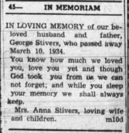 Memoriam of George W Stivers, The Tribune, Seymour, Indiana, 10 Mar 1944, pg 6