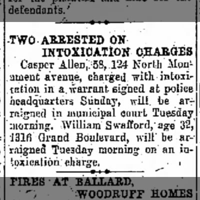 Two arreste on Intoxicaation Charge 6 Apr 1931