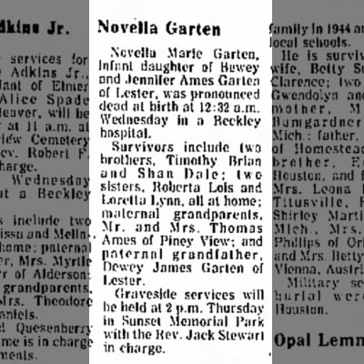 Novella Garten Obit, Beckley Post-Herald, 29 Jul 1976, Thu