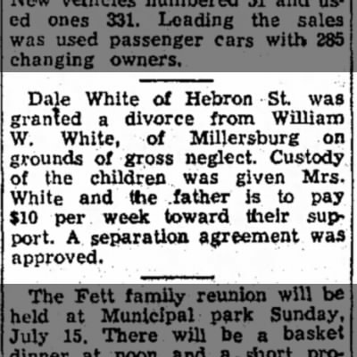 Divorce: Wm Walter White from Dale in 1956.