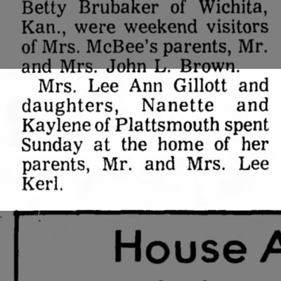 Kerl, Lee Visitors 5 Nov 1974 Beatrice Daily Sun