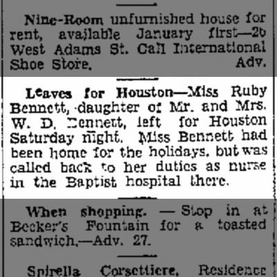 Leaves for Houston Dec 28, 1930 Brownsville Herald
