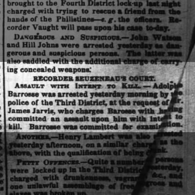 The Times-Picayune, New Orleans, LA,  Tuesday, May 17,1853.  Adolphe Barrosse, gggreat grandfather