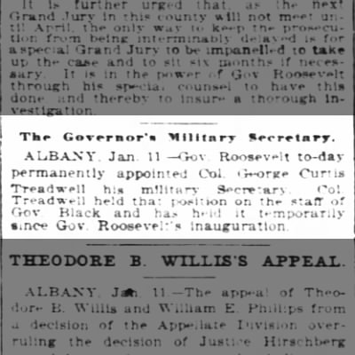 George Curtis Treadwell Appointed Govenor Roosevelt's Military Secretary