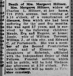 Margaret's obituary (William John Hiltner's mother""