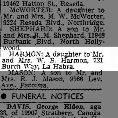 ?  Birth announcement .Mr & Mrs. W.B.Harmon a daughter.