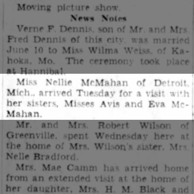 Nellie McMahan of Detroit visits sisters 1936