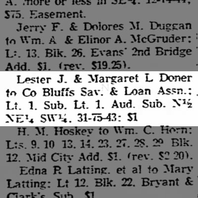 Real Estate Transfers -Council Bluffs Nonpareil - 24 Aug 1955, page 7