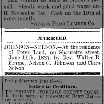 LIND - Johnson/Nelson marriage 1887