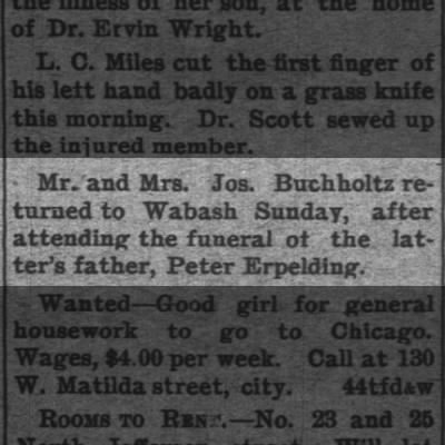 Peter Epelding funeral news 22 May 1899
