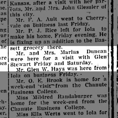Marius Duncan and Glenn Duncan Stewart - visit 1922