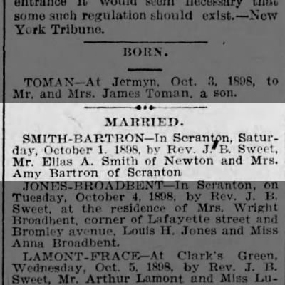Smith-Bartron Marriage
