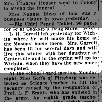 Levi Gorrell Goes to Live at Mason's Home - Iola Register 5 September 1917 Page 5