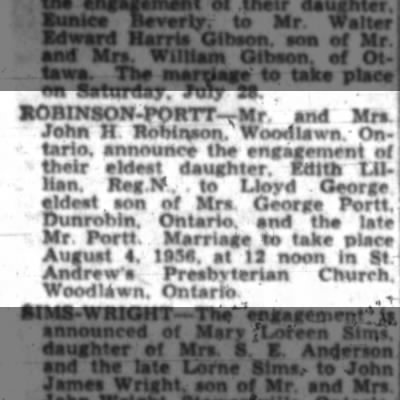 Robinson - Portt Weding Anouncement Ottawa Journal Jul 7, 1956