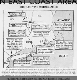 Map highlighting damage from 1938 hurricane