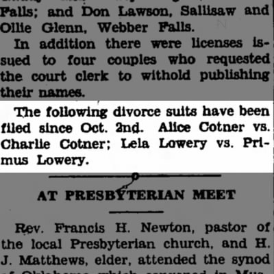 Alice Cotner files for divorce Charlie Cotner.
