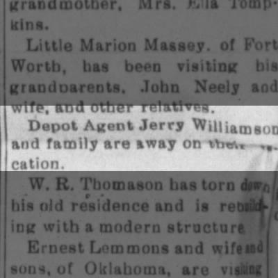 1937 Jerry Williamson agent