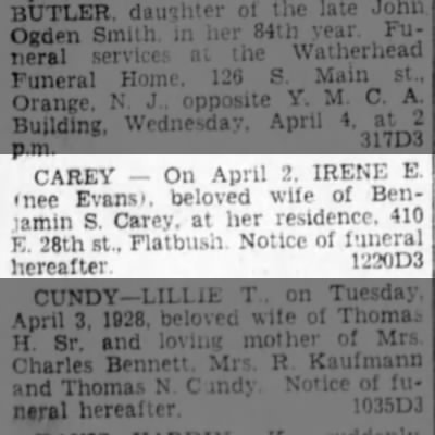 Irene Evans Carey death  3 April 1928 page 24