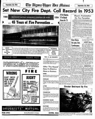 The Algona Upper Des Moines from Algona, Iowa on September 28, 1954 · Page 17
